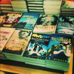 Sorrowline on a table in Foyles, spotted and snapped by Liz De Jager. (http://www.lizdejager.co.uk/)
