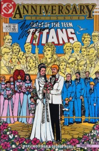 Marv Wolfman signs Tales of the Teen Titans issue 50